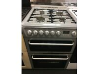 HOTPOINT 60CM DUAL FUEL COOKER IN SILIVER