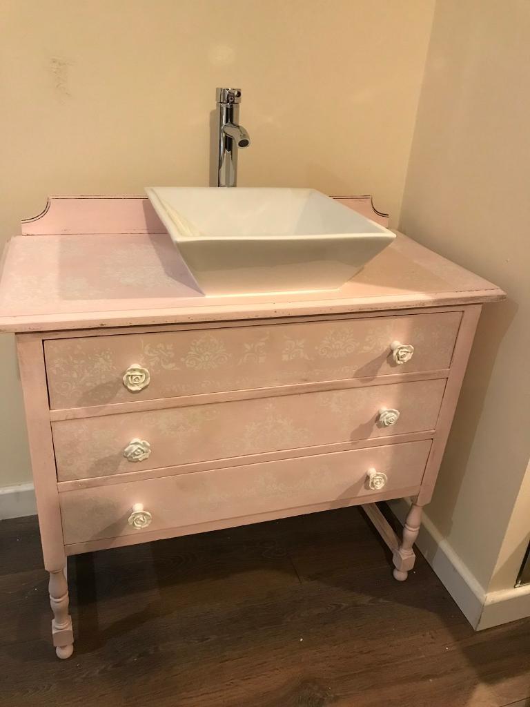 Stunning Up Cycled Drawers Bathroom Vanity Sink Unit Tap Pink Stencils