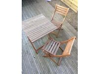 Wooden Garden Table and 2 Chairs (incl. wood varnish)