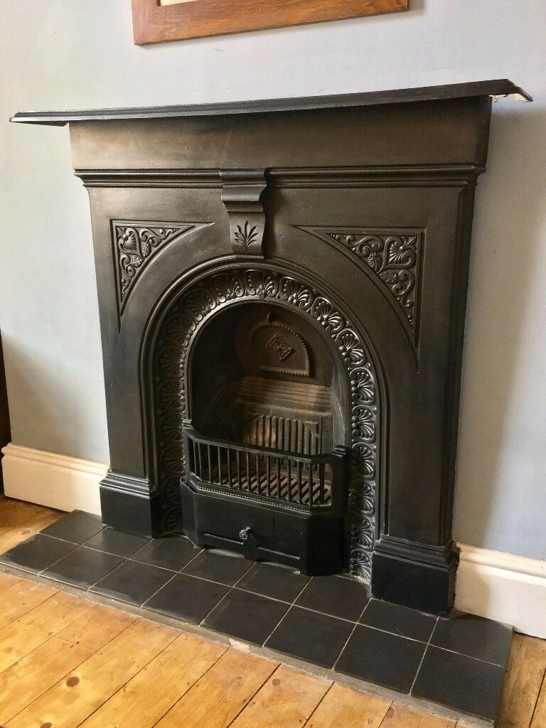 Black Victorian Cast Iron Fireplace