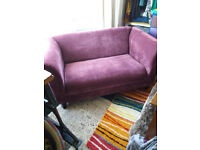 IMMACULATE,2 seater sofa , in velvet,purple, excellent condition.not used.L 145CM D83CM H72CM