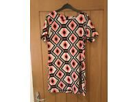 Vera & Lucy Patterned Shift Dress Coral and Black