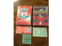 Liverpool FC DVDs + Old Match Tickets