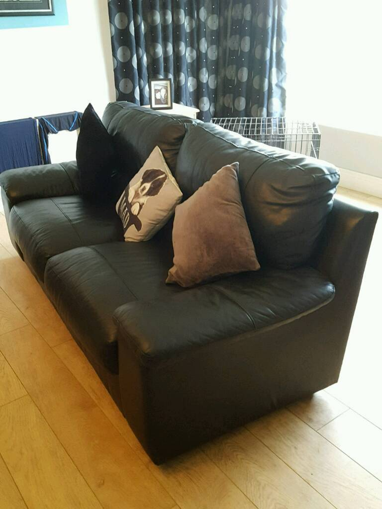 Three Seater Sofa for salein Randalstown, County AntrimGumtree - Black Leather Look Sofa, quick sale required. Call Lynne between 4 9 pm daily except Sunday on 07990 677388