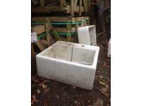 Three Belfast type reclaimed sinks