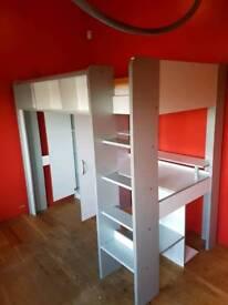High sleeper bed with wardrobe