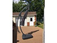 Large canter lever grey sun parasol. New, never been used complete with base which has wheels.