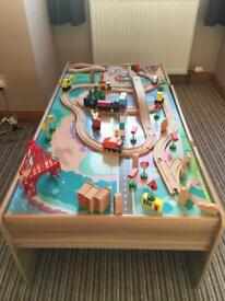 Wooden Train / Car table with all the accessories