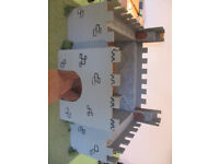 Homemade wooden and polystyrene castle on solid wood base with set of plastic knights -£4