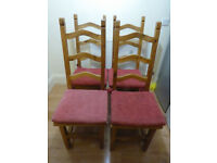 4 high back wooden dining chairs