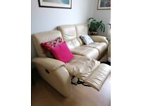 Dfs cream 3 Seater leather recliner sofa