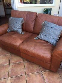 Leather 2 seater settle