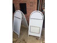 Two Metal Pavement Signs/Sanwich Boards