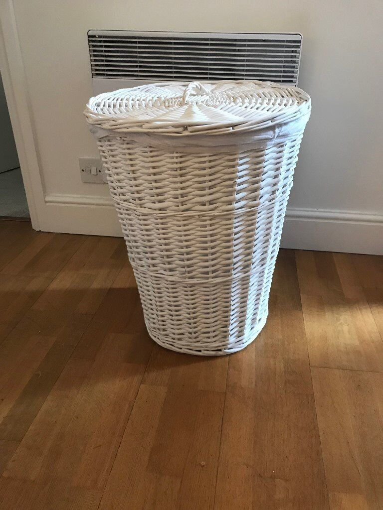 White Wicker Laundry Hamper Basket With Lid