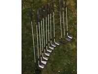Set of pinseeker golf clubs (irons) and bag.