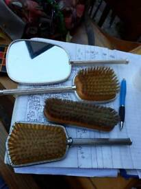Vintage hand mirror. Brush. Dressing table pieces set