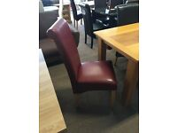 SCROLL BACK BONDED LEATHER DINING CHAIRS