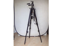 Manfrotto 074 Tripod with 3 way pan and tilt head and copy arm and shoulder strap