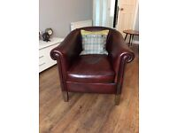 Exquisite Walnut Leather Club Chair