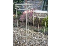 Cream metal shabby chic plant stands or lamp tables. Set of 2. Home/conservatory.