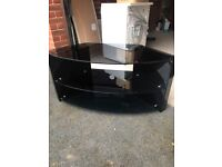 Tv stand. Heavy glass and wood in black (tech link)