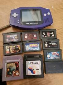 Nintendo purple gameboy advance and games