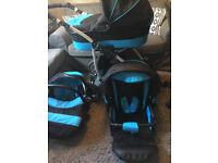 Largo Pram 3 in 1 Set: Pushchair, Buggy Stroller and Car Travel Seat - Black Aqua