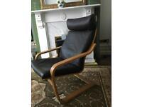 **SOLD**Ikea Poang Lounge Chair - Brown Leather/Oak Vaneer