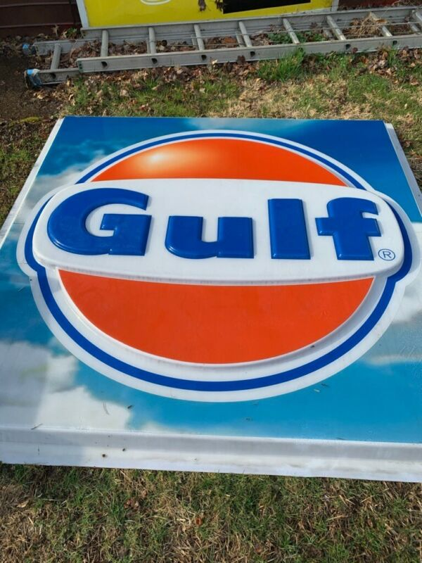 Vintage Gulf Gas Station Sign 6ft x6ft plastic advertising