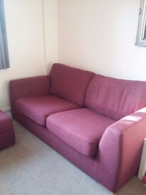 FREE NEED GONE ASAP Mulberry coloured 3 seat sofa and foot stool