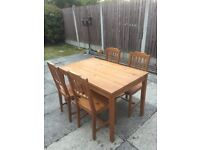 IKEA table and 4 Chairs- Antique stain