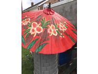 Umbrella hand made in Thailand vibrant red with flowers painted £15
