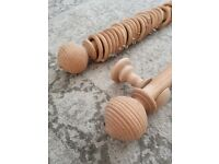 Wooden curtain pole 2.4M