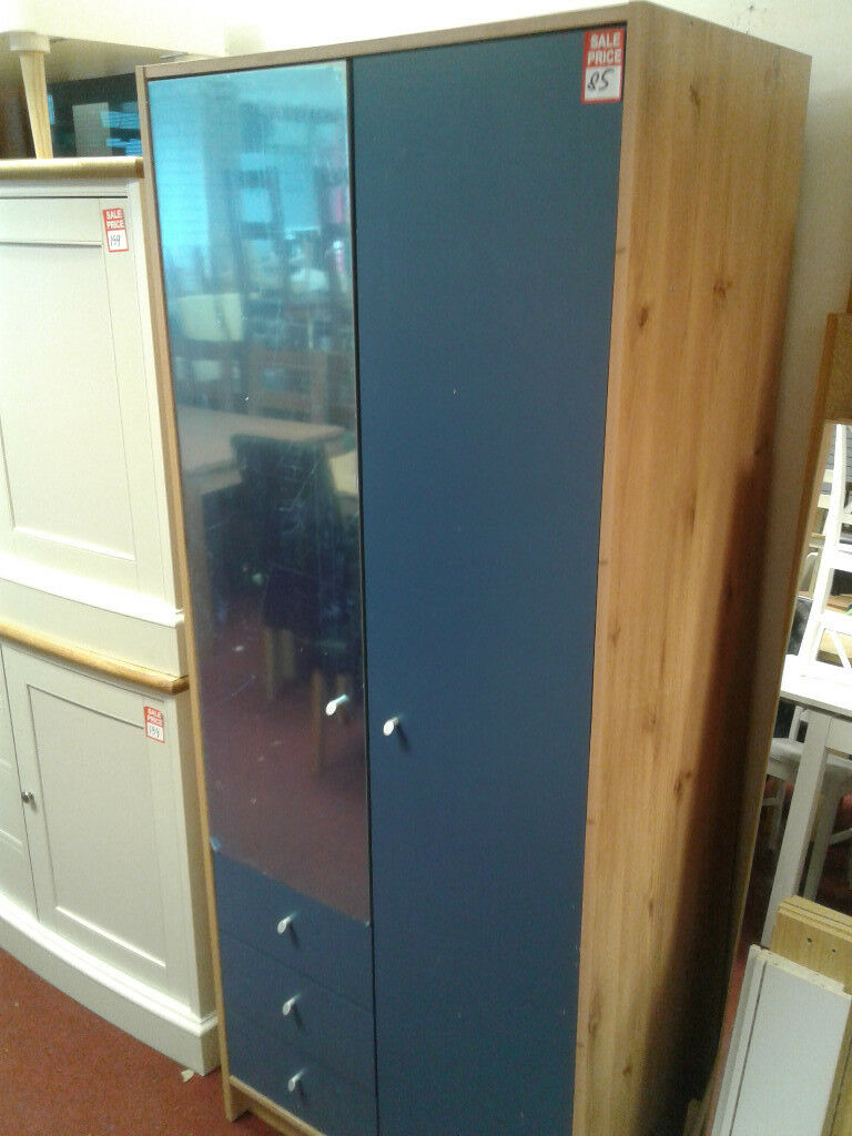 malibu 2 door 3 drawer mirrored wardrobe blue on pine