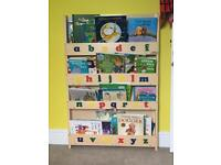 Tidy books bookcase with alphabet