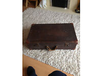 VINTAGE 1930s LEATHER AND TIMBER FRAMED SUITCASE ..GREAT DECORATORS PIECE