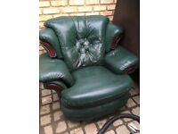 Free Green Leather arm chair and foot stool