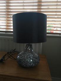 Silver / black crackle lamp