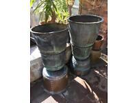 9 Victorian Round Antique Copper Large Plant Pots Planter Verdigris Various Sizes from £250 Each VGC