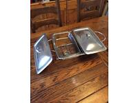 Double heated serving dishes with stand