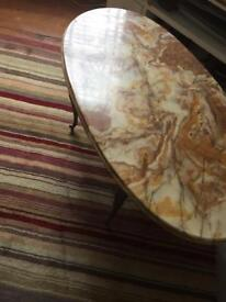 Marble oval coffee table. Antique retro
