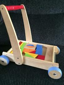 Wooden Cart with Building Bricks