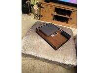 Large Stunning Silver Studded Crushed Velvet Footstool/Coffee Table