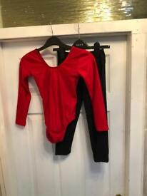 Katz Dancewear, Red leotard and Black 3/4 length leggings, Size 3a, Like New