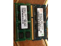 Kingston 4gb Ram 2x 2gb for laptop 204pin DDR3 1600 new fully tested working as new