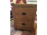 Beautiful dark oak SOLID built home/office two-drawer filing cabinet from Oak Furniture Land.