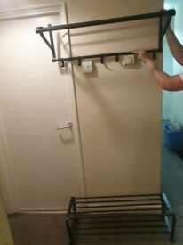 PORTIS shoes rack and hat and coat rack 90x31x33 cm black excellent condition