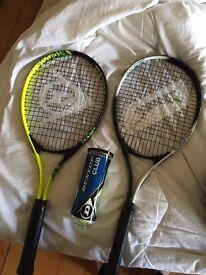 2 tennis racquets and tennis balls