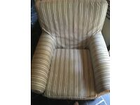White and grey stripe chair with washable covers