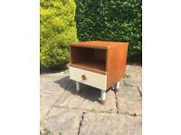 Vintage 1960 1970 bedside table TEAK drawers retro MID CENTURY